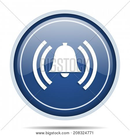 Alarm blue round web icon. Circle isolated internet button for webdesign and smartphone applications.