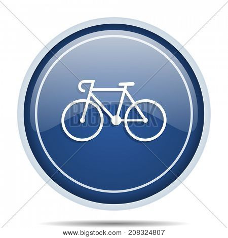 Bicycle blue round web icon. Circle isolated internet button for webdesign and smartphone applications.