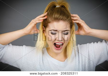 Unhappy Woman Screaming And Yelling In Pain
