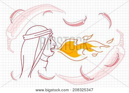 Female Breathing Fire, Hot Chili Pepper Concept Sketch Vector Illustration