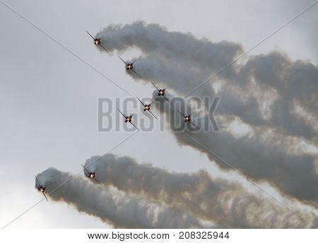 Th Red Arrows RAF aerobatic display team in action at RAF Scampton, Lincolnshire, UK on 10 September 2017 at the first major air show at this active station in recent times.