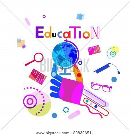 Hand Holding Globe, Education Concept Elearning Online Training Courses Banner Vector Illustration