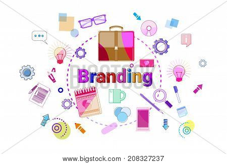 Branding Creation And Products Line Development Concept Business Strategy Banner Vector Illustration