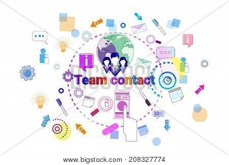 Team Contact Concept Business Coworkers Cooperation Teamwork Banner Vector Illustration