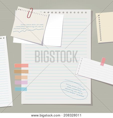 Vector note papers collection on gray background.