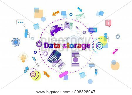 Data Storage Center Hosting Server Computer Device Information Database Technology Banner Vector Illustration