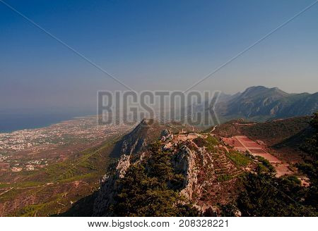 Panorama of Northen Cyprus from the top of Saint Hilarion Castle at Kirenia Northen Cyprus