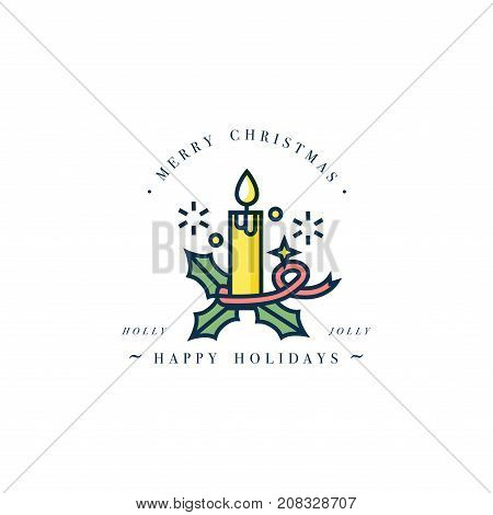 Lovely Merry Xmas concept linear design with Christmas candle. Greeting typography compositions Xmas cards, banners or posters and other printables.