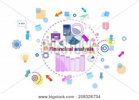 Financial Analysis Banner Data Study Graph With Magnifier Calculator Concept Vector Illustration