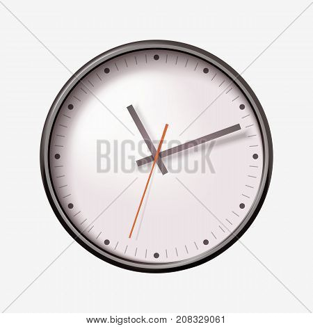 Vector realistic round wall clock on white background.