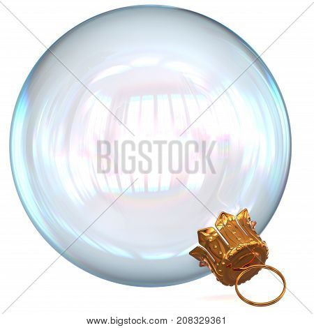 3d rendering Christmas ball white decoration clean glass translucent Happy New Year's Eve hanging bauble adornment