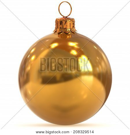 3d rendering golden Christmas ball decoration New Year's Eve hanging bauble adornment traditional Happy Merry Xmas wintertime ornament yellow shiny polished