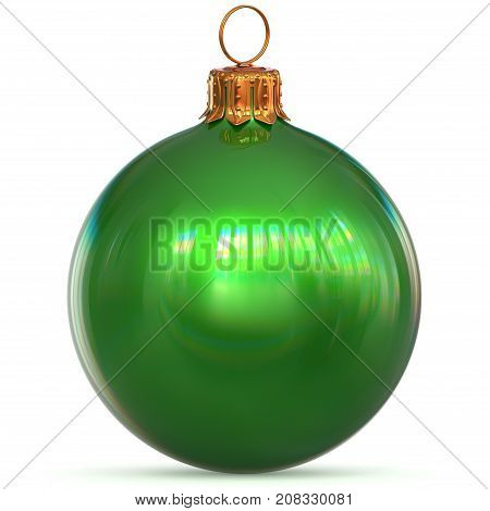 3d rendering Christmas ball green New Year's Eve bauble hanging adornment traditional Happy Merry Xmas wintertime ornament polished excellent sparkling