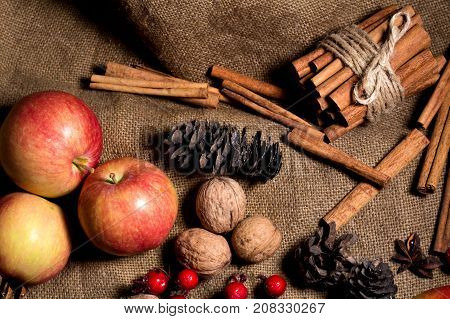 Red And Yellow Apples, Cinnamon On A Sackcloth Background