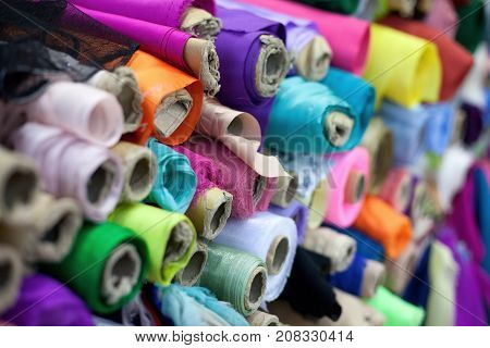 Colorful Rolls Of Textiles
