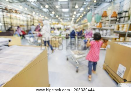 Blurred Background Image Of Goods Shelf In Warehouse Or Storehouse.