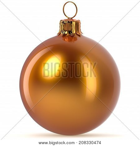 3d rendering golden Christmas ball decoration orange Happy New Year's Eve hanging bauble adornment traditional Merry Xmas wintertime ornament polished closeup