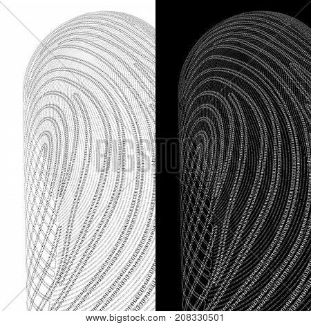 Cybersecurity. Fingerprint On A Background Of Zeros And Ones