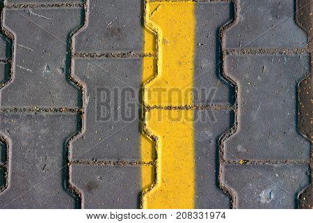 grunge Yellow hazard stripe texture background .
