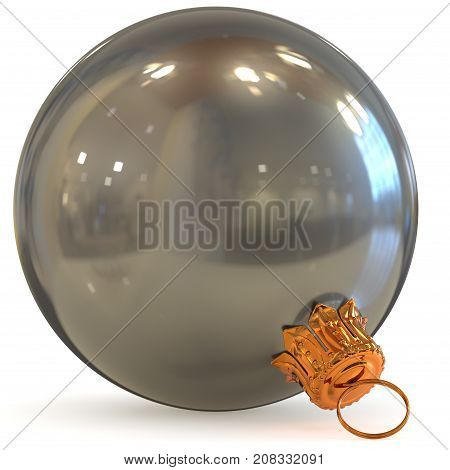 3d rendering white Christmas ball silver decoration closeup New Year's Eve bauble hanging adornment traditional Happy Merry Xmas wintertime ornament chrome polished