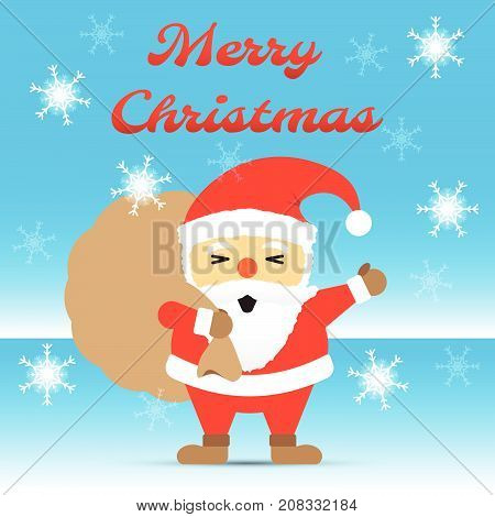 Vector Illustration Of Merry Christmas Red Chubby Santa Claus Is Waving His Hand And Carrying A Brown Gift Bag Happily Standing Among Snow Flakes On Icy Ground With Blue Winter Background