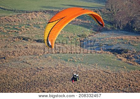 dual paraglider flying in the Brecon Beacons