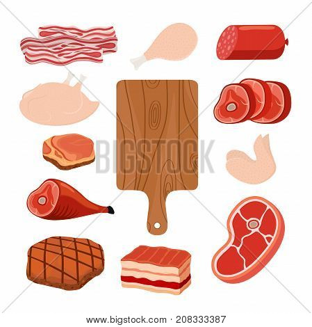 Meat set - bacon, chicken, ham, smoked pork, jamon, hamon, cutting board. Made in cartoon flat style. Vector illustration