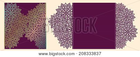 Laser Cutting Vector Card. Laser Cut Wedding Invitation Template. Diy Cut Paper Card With Ornamental