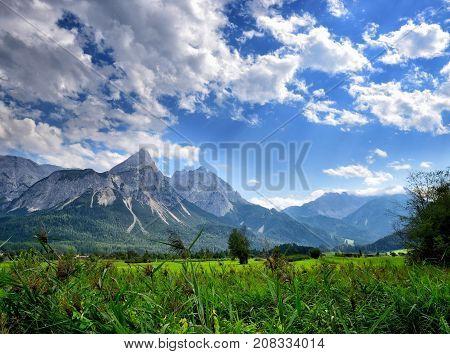 Summer Mountain Landscape In The Alps. View Of The Ehrwalder Sonnenspitze (tirol, Austria)