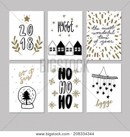 Set of doodle Christmas greeting cards. Vector hand drawn cute icons. Scandinavian style. Xmas tree, houses, garland, snow globe and lettering. New Year scrapbooking. Holiday festive party.
