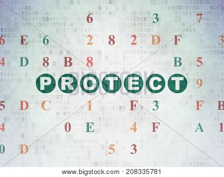 Protection concept: Painted green text Protect on Digital Data Paper background with Hexadecimal Code