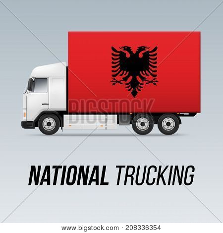 Symbol of National Delivery Truck with Flag of Albania. National Trucking Icon and Albanian flag