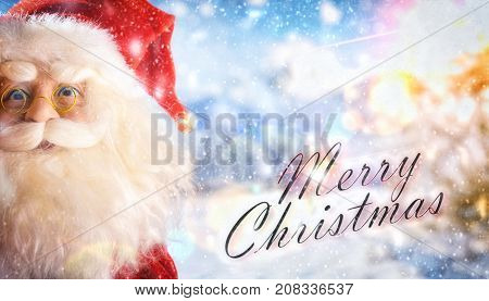 Santa Claus Doll Close Up Card On Snowy Background Landscape Titled