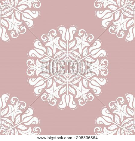 Orient vector classic purple and white pattern. Seamless abstract background with repeating elements. Orient background