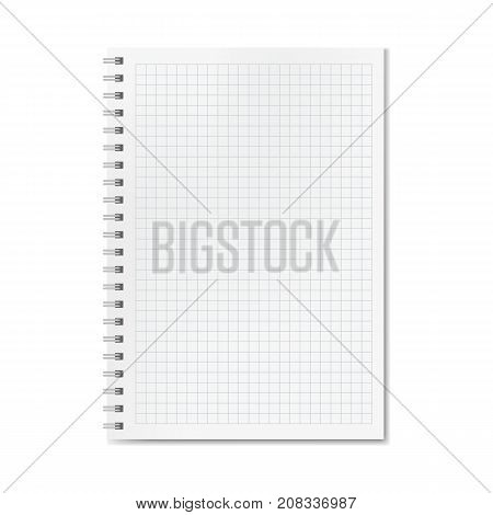 Vector realistic quadrille or graph ruled notebook. Copybook with blank quad paper on metallic ring spiral organizer mockup or template for your text