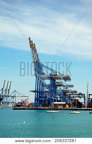 BIRZEBBUGA, MALTA - APRIL 1, 2017 - Container cranes in the port Birzebbuga Malta Europe, April 1, 2017.