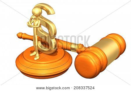 Law Concept The Original 3D Character Illustration In Contemplation With A Section Symbol