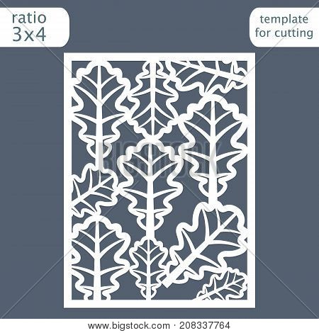 Laser cut wedding invitation card template. Cut out the paper card with pattern of oak leaves. Greeting card template for cutting plotter. Vector.