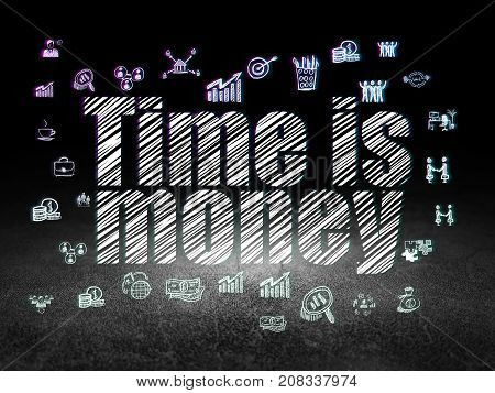 Business concept: Glowing text Time is Money,  Hand Drawn Business Icons in grunge dark room with Dirty Floor, black background