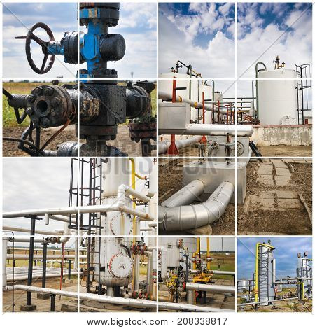 Oil And Gas Industry. Industrial. Manufacturing photo collage