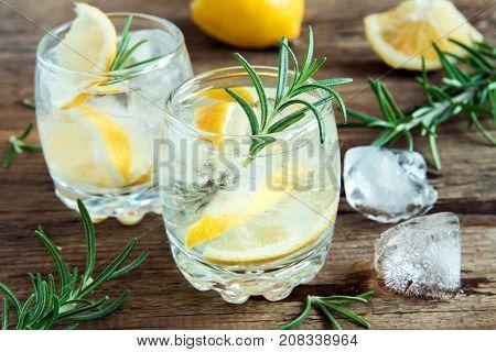 Alcoholic Drink  With Lemon, Rosemary