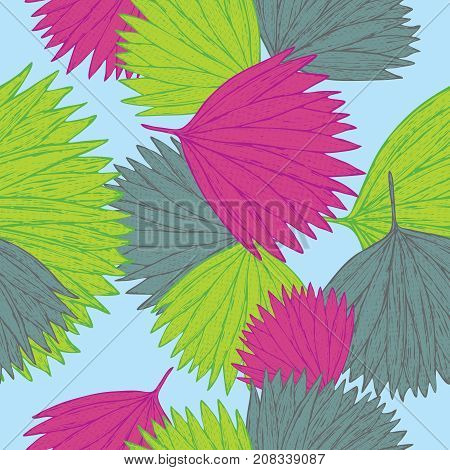 vector illustration of a hand drawn seamless pattern with leaves inspired by tropical botany in colorfull shades