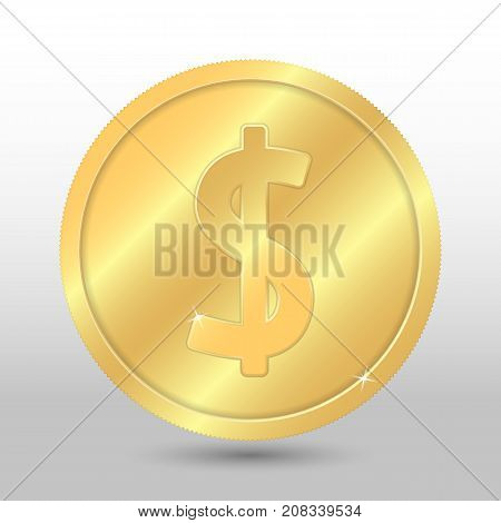 Realistic gold coin with dollar sign. Vector coin on gray background