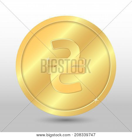 Realistic gold coin with hryvnia sign. Vector coin on gray background
