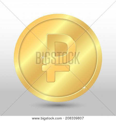 Realistic gold coin with ruble sign. Vector coin on gray background