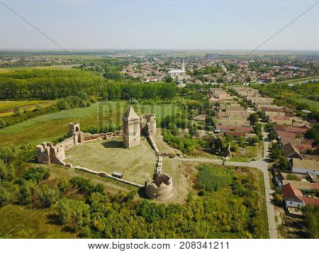 Air view of ruins of Bac fortress and Bac town in Serbia