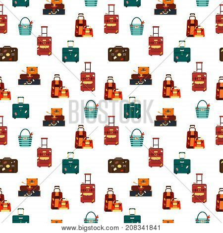 Seamless pattern travel bags isolated on white background vector illustration. Collection business voyage packing, handle trip baggage. Summer time. Handbag and luggage for adventure.