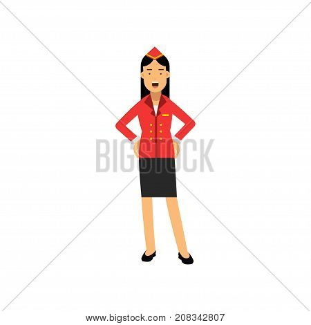 Stewardess in uniform standing with open mouth and gesturing with hands on her waist vector Illustration on a white background