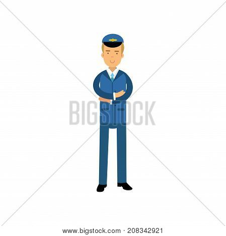 Airline pilot in blue uniform standing with folded hands, aircraft captain vector Illustration on a white background