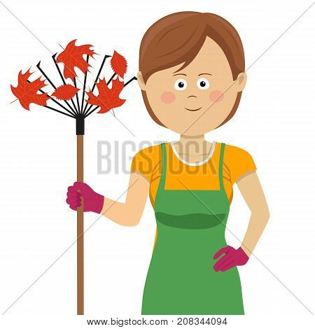 Young gardening woman standing with rake and autumn maple leaves on white